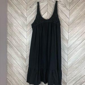 Black sundress with crochet detail
